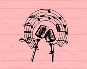 Vintage microphone SVG, Microphone svg, png, eps, dxf, Musical notes svg, Vintage microphone vector svg, clip art