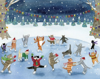 Cat Christmas Cards Etsy
