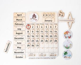 Wooden Calendar | Homeschool | Natural Home Calendar | Montessori Calendar | Perpetual Calendar | Handmade | Learning Tool