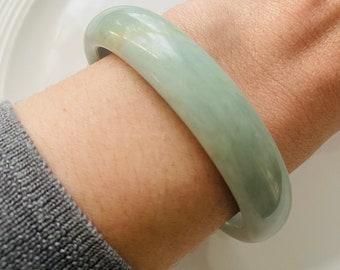 Natural Jade Bangle / Smooth Green Stone Slip-On Bracelet / Free Jade Ring With Purchase/ Natural Stone Bangle