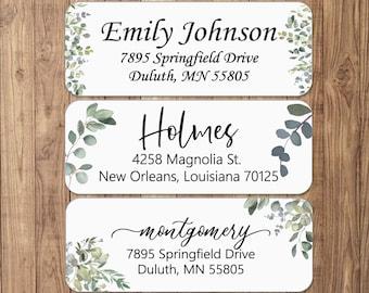 Eucalyptus Return Address Labels White Matte | 24 Eucalyptus Address Sticker | Greenery Custom Address | Personalized Address Labels