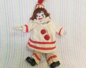 Vintage Porcelain Clown Doll Taiwan Bendable Arms Legs Red White Painted Face Yarn Hair Circus Amusement Figurine