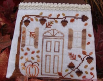 Home for Thanksgiving, counted cross stitch pattern, thanksgiving, fall, leaves, house, season, november.