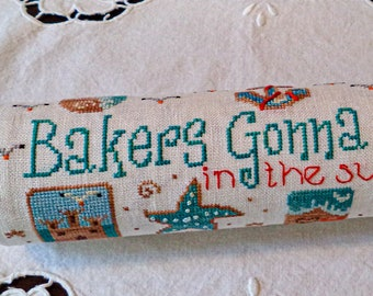 Bakers Gonna Bake...in the summer too! Cross stitch pattern kit made by New York Dreamer • summer, series, pin, seashells, cookies, sand.