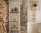 Macrame shell plant shelf, hanging shelf for plants, floating shelves flower, hanging plant shelves, multi tier plant stand,plant wall shelf