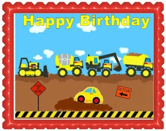 Construction Trucks Image Cake Topper Edible Photo on Frosting Sheet