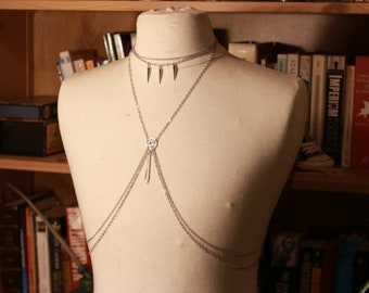 Silver gothic chain harness