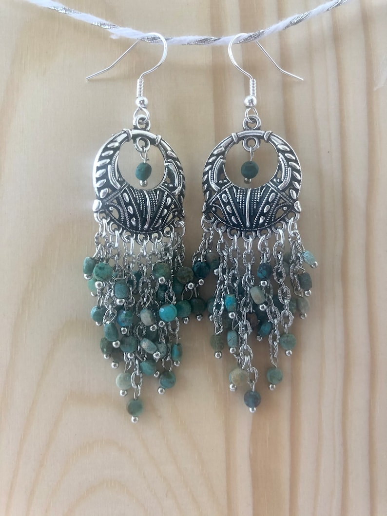 Turquoise Dangle Earrings; Chandelier Earrings; Long Turquoise earrings; Stocking Stuffer; Statement earrings