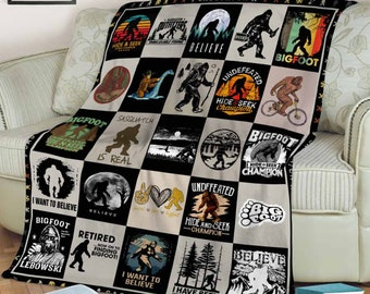 Bigfoot Sasquatch  Fleece Blanket, Sherpa Blanket, Mink Blanket, Gift For Birthday,Special Gift