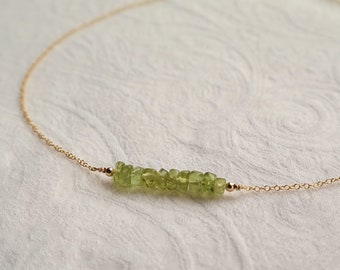 Stainless steel Bead Bar Necklace Peridot Gemstone Bar Necklace 14K gold plated Delicate Gemstone Necklace Minimalism