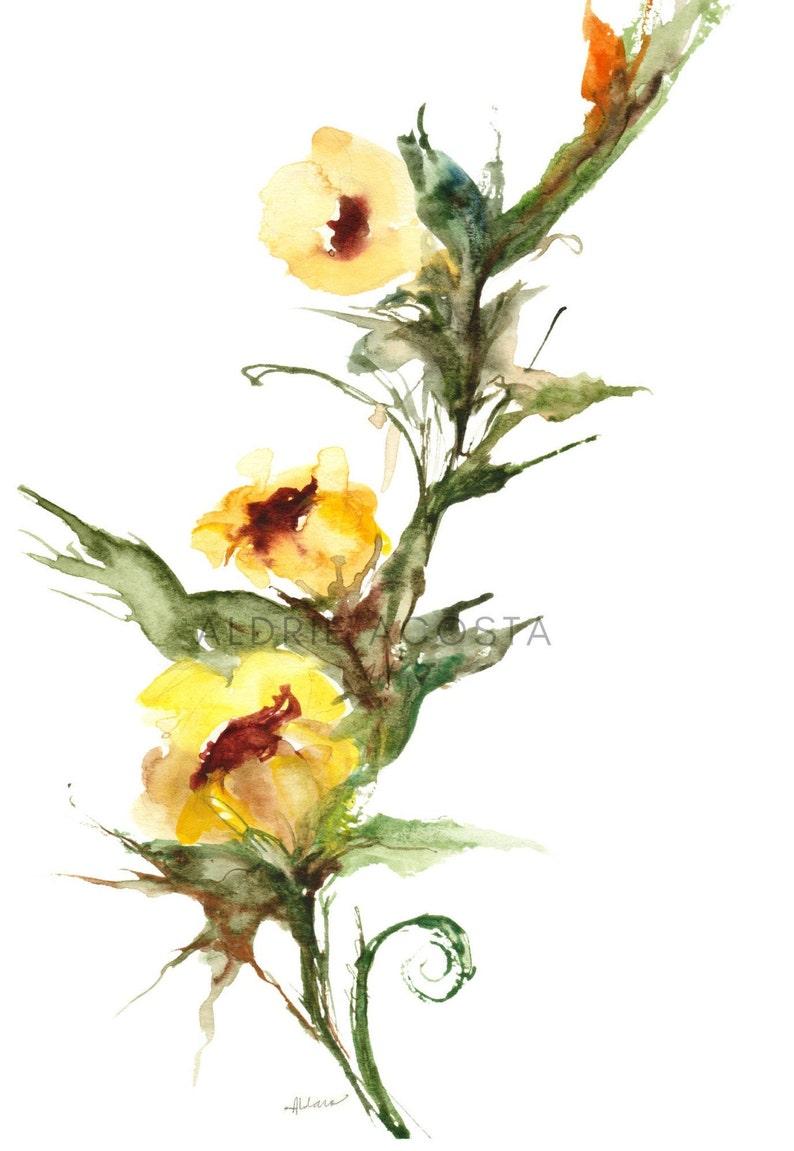 Yellow Wild Flower Home Wall D\u00e9cor Hangings Delicate Blossoms Series No 3 Gicl\u00e9e Art Print from Original Watercolor Impression Painting