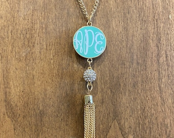 Tassel Necklace Monogrammed Necklace Tassel Engraved Tassel Necklace Personalized Jewelry Gold or Silver Gift for Her