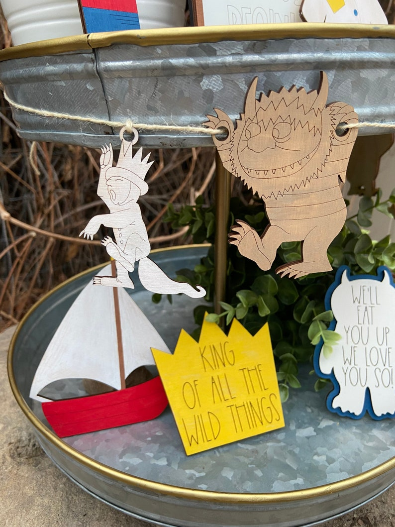 Where the Wild Things Are Tiered Tray Decor Set FILE First Birthday DIGITAL svg FILE for Laser Cutting