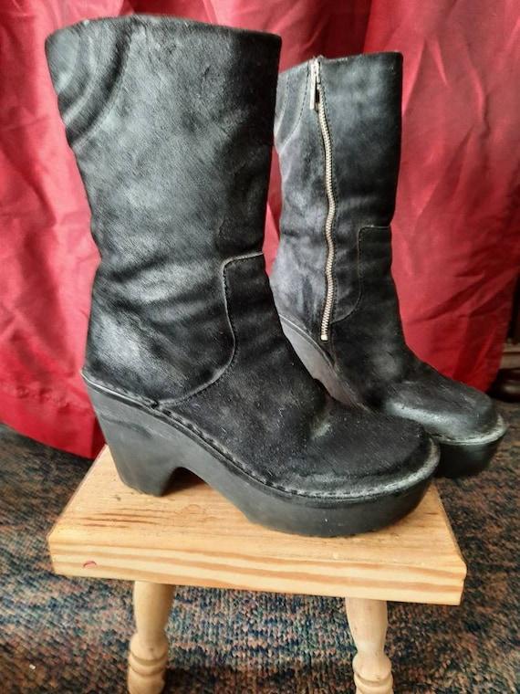Esprit Platform Boots, 1990's Boots, Nubuck Boots,
