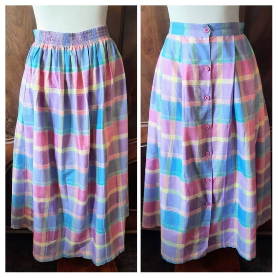 Vintage Midi Skirt Pleated Smocked Floral Patterned 80s Pink Purple White Size M L 10 12 14