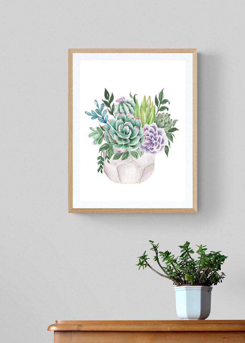 Succulent Watercolor Painting Succulent Art Painting Succulent Wall Decor,