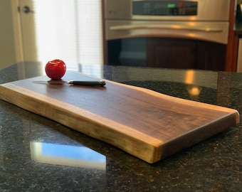 019 Reversible Live Edge Black Walnut Charcuterie Board, Cutting Board, Serving Tray, Handcrafted