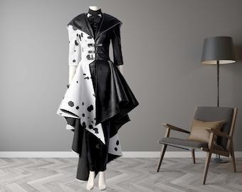 Cruella Costume Cosplay Coat Suit Women Dress