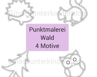 PDF: Punktmalerei Wald 4 Motive