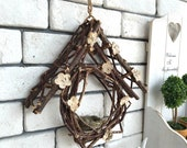Solid wood handmade wicker small house wall decoration