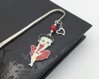 Silver Betty Boop Bookmark with Pin-up & Heart Charms and Red Jade Bead - Handmade Gift for Bookworm, Book Lover, Reader, Teacher, Collector