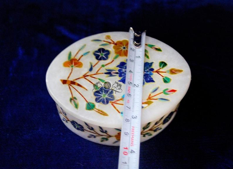 Decorative Marble Jewelry Box Lapis Lazuli Hakik Multi Inlay Stone Floral Design Gift