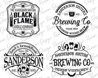 Sanderson Sisters Svg PNG Bundle, Black Flame Candle SVG, Sanderson Brewing Co, Hocus Pocus Svg, Halloween Svg, Silhouette Cricut Cut Files