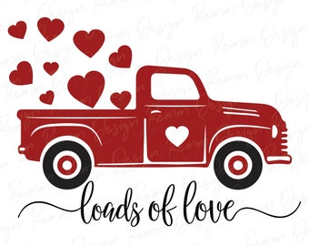 Truck Farm Truck Car Red Vintage Truck SVG Files Instant Digital DOWNLOAD Truck with Heart SVG Cut File Pickup Truck