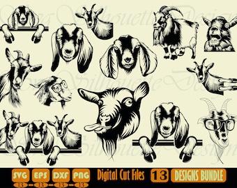 Goat SVG Bundle, Goat SVG, Goat Clipart, Goat Cut Files For Silhouette, Files for Cricut, Goat Vector, Farm Animal Svg, Dxf, Png, Eps,Design