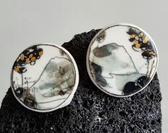 Porcelain earring - Porcelain earrings - Gold and silver porcelain - LANDSCAPE - KISO - Unique piece -