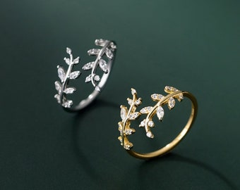 Sterling silver , 14k Gold plated & Rose Gold Leaf ring adjustable diamond ivy leaf