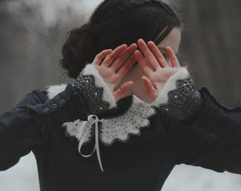 SET of Crochet collar and crochet wrist warmers. Matching crochet collar and fingerless gloves with swarovski pearls.