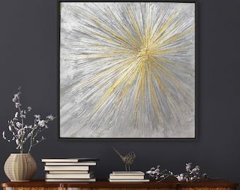 Abstract Modern textured Art, Contemporary art, Silver Gold metallic Painting, Wall decor, Abstract painting, Silver Gold shine, Glitter Art