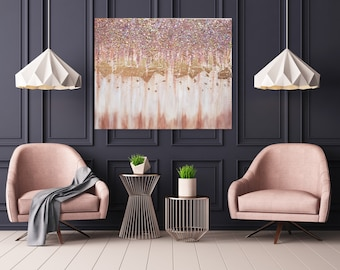 Rose Gold Modern Contemporary Art, Golden Copper Glitter Crushed glass rose Gold leaf Abstract  painting, Handmade Original Large canvas Art