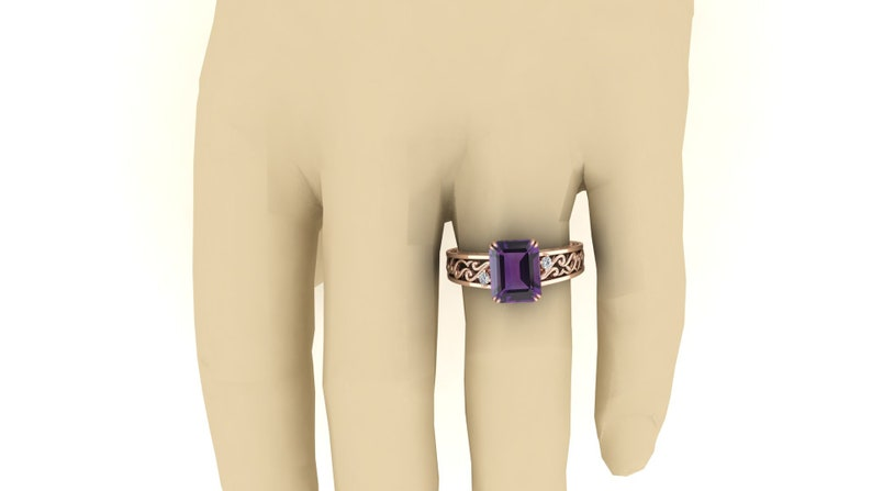 Purple Stone Ring Solitaire Ring Amethyst Wedding Bridal Ring 2.90 ct Octagon Shape Ring. Moissanite Ring Vintage Art Deco Ring