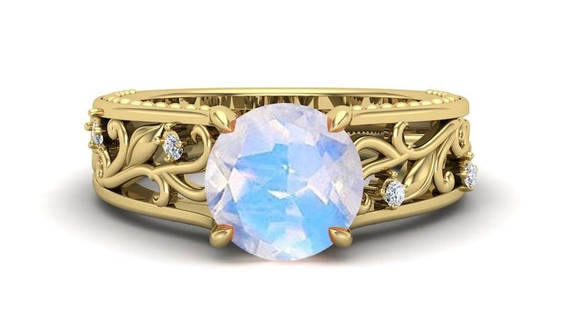 Rainbow Stone Ring Vintage Art Deco 1.55Ct Solitaire Moissanite Round Shape Ring Filigree Art Natural Moonstone Anniversary Bridal Ring