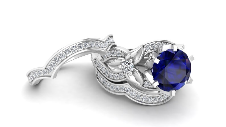 Moissanite Solitaire Ring 2.25Ct Leaf Ring Set Blue Sapphire Wedding Ring Unique Ring. Halo Ring Set Vintage Art Deco Blue Stone Ring