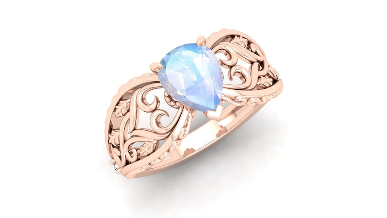 Filigree Art Ring Nature Inspire. AAA Moonstone Wedding Bridal Ring Vintage Art Deco Solitaire Ring Pear Shape Ring Rainbow Stone Ring