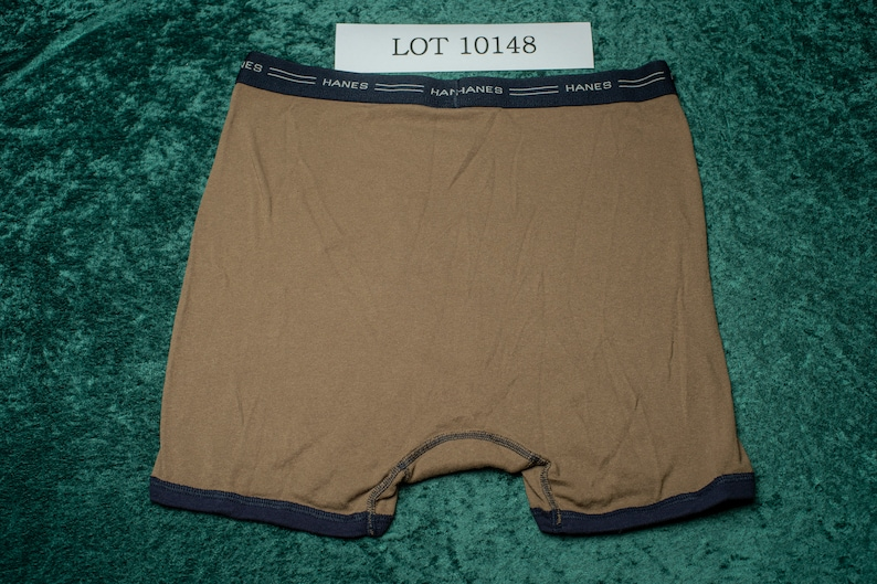 Hanes Comfortflex brown with navy accents boxer brief EUC L 36-38 10148