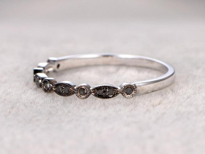 Black Sapphire Eternity Bands-Engagement Ring-Mother Day Gift-Eternity Ring For Mother-Personalized Gift-925 Sterling Silver Rings