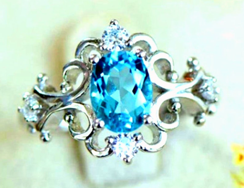Valentines Oval Cut Anniversary Blue Gemstone Engagement Gift for Her London Blue Topaz Ring
