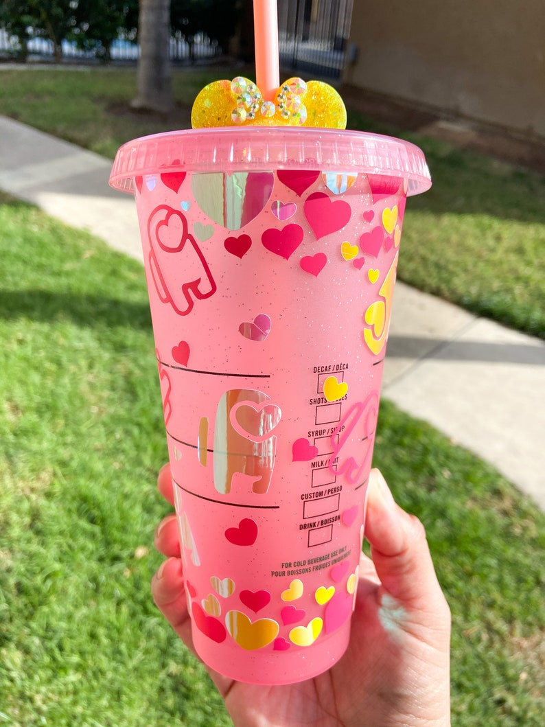Custom Among Us Inspired Valentines Day Gaming Starbuck Glitter Cold Cup Venti Tumbler
