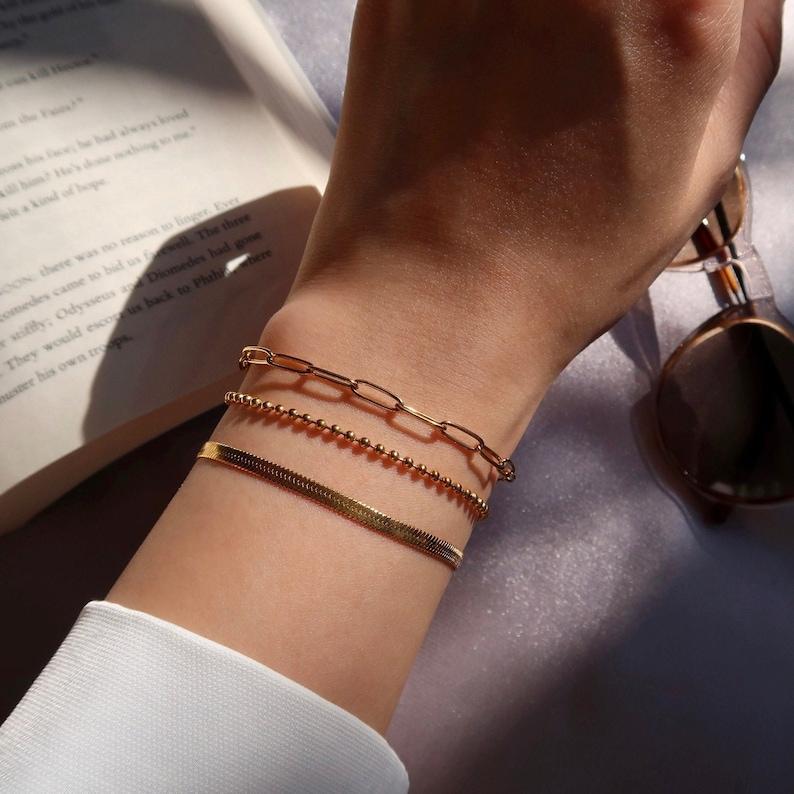 SALE 3 Pcs Link Chain Bracelets Set 18K Gold Filled Titanium Steel Herringbone Bracelet  Paper Clip Chain Bracelet  Ball Chain Bracelet