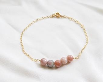 Pink Calcite Dainty Bracelet | Anklet | Perfect Gift | Beaded Bracelet | Adjustable | Custom Jewelry | Christmas Gift | Gift For Mom