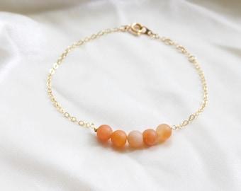 Peach Dainty Beaded Bracelet | Anklet | Gift For Friend | Perfect Gift | Beaded Bracelet | Adjustable | Custom Jewelry | Christmas Gift