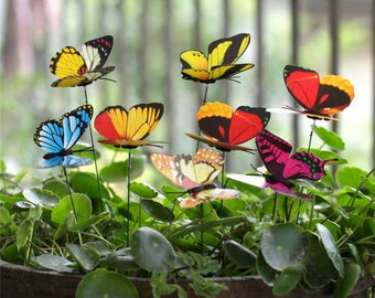 Butterfly Garden Stakes, Bundle Pack, Potted Plants Decoration, Outdoor Decor, Spring Butterflies, Multi Color