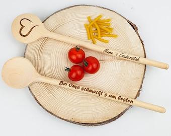 Personalisierter Kochlöffel (30cm) mit Ihrer Gravur | Name / Spruch / Logo | Holz Kochlöffel | Geburtstag | Geschenk | Lasergravur | Kochen