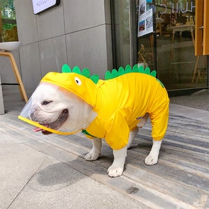 Waterproof Dog Jacket Dog Raincoat with Hat Pet Jumpsuit Clothes with Cap Dogs Waterproof Clothing Pet Cute Dinosaur Raincoat