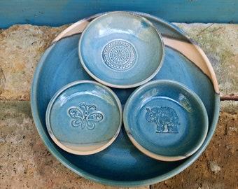 Tapas set 4 tlg, snack bowls, dip bowls, plates for antipasti, olive plates