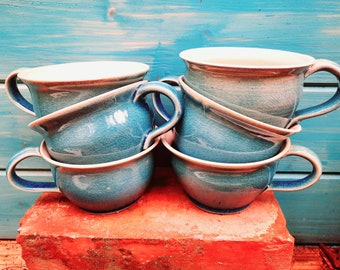6 favorite cups 10% cheaper, set with 6 cups hand-potted dreamy turquoise